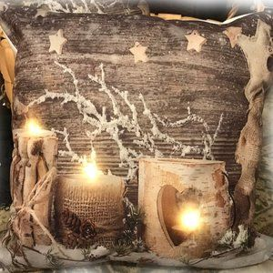 NEW Cushion Cover only LED Country FROSTED CANDLES